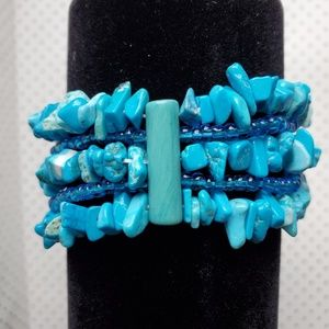 Turquoise Color Stone Layered Stretch Bracelet